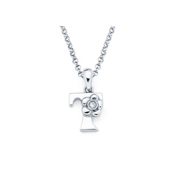 Adorable Small Letter T Pendant - Diamond Girls Initial Necklace - Sterling Silver Rhodium Chain and Pendant /