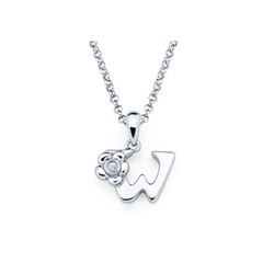 Adorable Small Letter W Pendant - Diamond Girls Initial Necklace - Sterling Silver Rhodium Chain and Pendant /