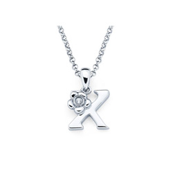 Adorable Small Letter X Pendant - Diamond Girls Initial Necklace - Sterling Silver Rhodium Chain and Pendant /