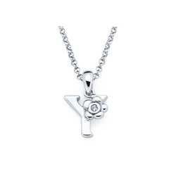 Adorable Small Letter Y Pendant - Diamond Girls Initial Necklace - Sterling Silver Rhodium Chain and Pendant /