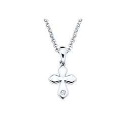 Elegant Small Cross Pendant - Diamond Girls Necklace - Sterling Silver Rhodium/
