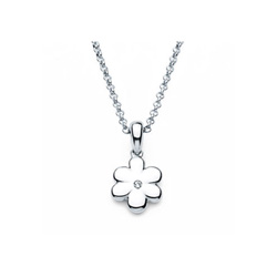 Flower Pendant - Diamond Girls Necklace - Sterling Silver Rhodium - 16