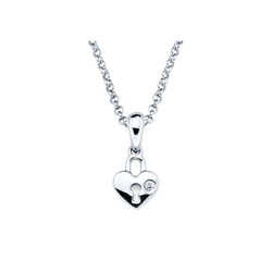 Adorable Tiny Heart Lock Pendant - Diamond Girls Necklace - Sterling Silver Rhodium - 16