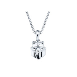 Happy Birthday Sweet Girl! - Present Pendant - Diamond Girls Necklace - Sterling Silver Rhodium/