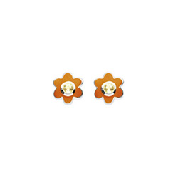 November Birthstone - Citrine Adorable Flower Girls Earrings - Sterling Silver Rhodium/