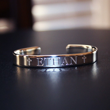"Ethan - Boys Christening Gift - Sterling Silver Engravable Boys Cuff Bracelet - Size 4"" Adjustable to 5"" (Baby - Toddler) - BEST SELLER"