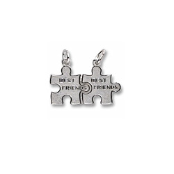 Rembrandt Sterling Silver Best Friend Puzzle Charm – Engravable on back - Add to a bracelet or necklace/
