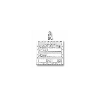 Rembrandt Sterling Silver Birth Certificate Charm – Engravable - Add to a bracelet or necklace