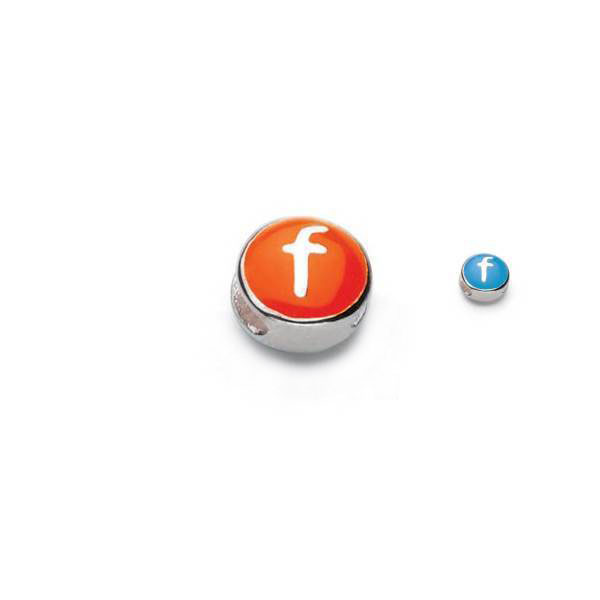 Letter f  - Blue and Orange Kids Alphabet Letter Charm Bead - High-Polished Sterling Silver Rhodium - Add to a bracelet or necklace