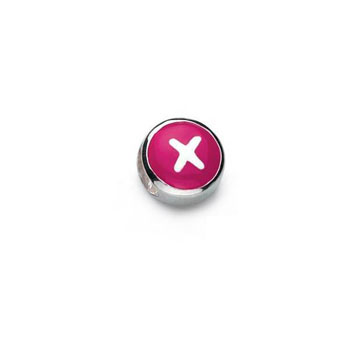Letter x - Hot Pink and Purple Kids Alphabet Letter Charm Bead - High-Polished Sterling Silver Rhodium - Add to a bracelet or necklace