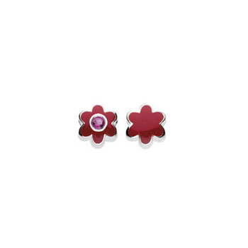 July Synthetic Ruby Birthstone Charm Bead - High-Polished Sterling Silver Rhodium - Add to a bracelet or necklace
