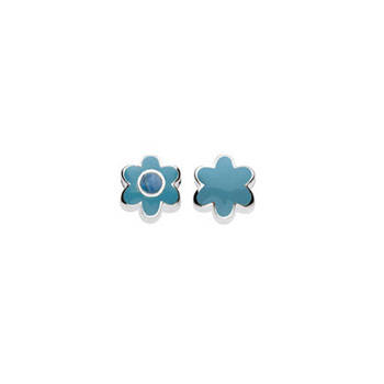 December Turquoise Birthstone Charm Bead - High-Polished Sterling Silver Rhodium - Add to a bracelet or necklace