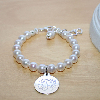 Classic Beauty™ by My First Pearls® – Grow-With-Me® designer original freshwater cultured pearl bracelet – Personalize with gemstones & charms