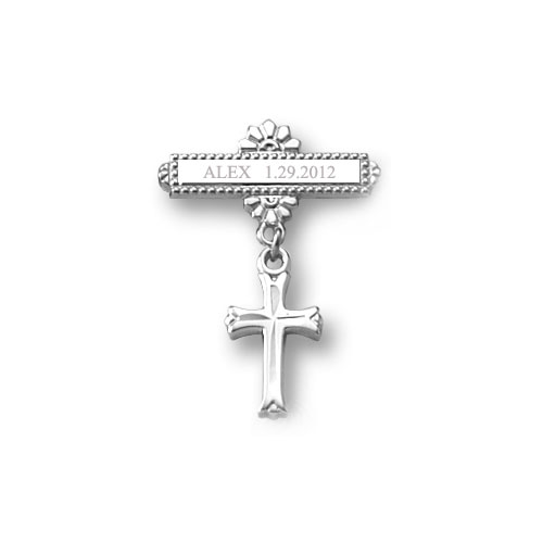 Cross Baptismal Pin - Sterling Silver Rhodium - Add a birthstone to personalize - BEST SELLER