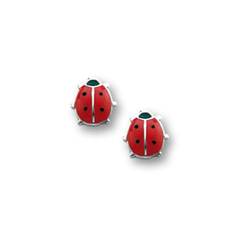 Red Ladybug Earrings for Girls - Sterling Silver Rhodium Screw Back Girls - BEST SELLER