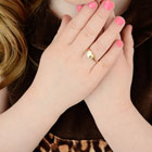 Keepsake Heart - 10K Yellow Gold Girls Engravable Heart Signet Ring - Size 4½ Child Ring - BEST SELLER