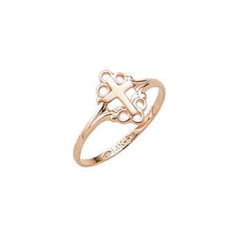 In Faith and Love - 10K Yellow Gold Girls Cross Ring - Size 4 Child Ring