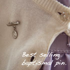 Miraculous Medal Christening Pin - Sterling Silver Rhodium - Add a birthstone to personalize