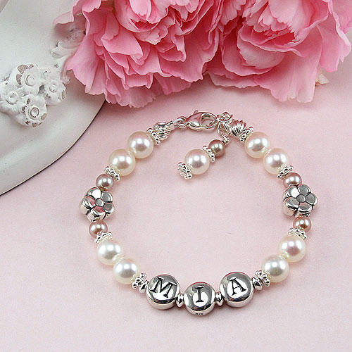 Daisies in Bloom™ by My First Pearls® – Grow-With-Me® designer original freshwater cultured pearl name bracelet – Personalize with gemstones & charms