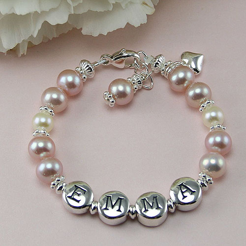 Emma™ by My First Pearls® – Grow-With-Me® designer original freshwater cultured pearl name bracelet – Personalize with gemstones & charms
