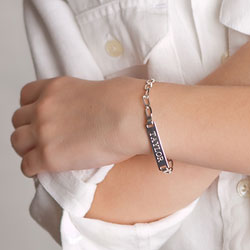 Boy's Jewelry Favorite - Boys Personalized Silver Bracelet - Engravable on front and back - Size 5.5