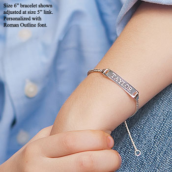 "Boy's Jewelry Favorite - Adjustable Boys Personalized Silver Bracelet - Engravable on front and back - Size 6"" adjustable at size 5"" (2 - 9 years) - BEST SELLER"