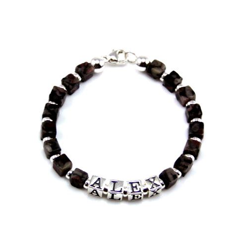 Alex - Boy's Personalized Gemstone Sterling Silver Name Bracelet