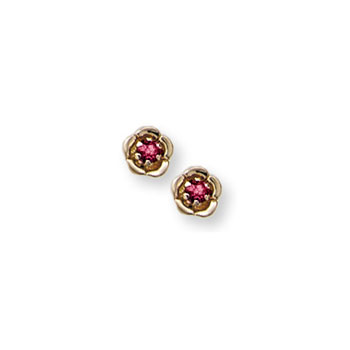 Girls Elegant Flower Girl Keepsakes™ - January Birthstone 14K Yellow Gold Screw Back Flower Earrings for Babies & Toddlers - 2.5mm Genuine Garnet Gemstone - Safety threaded screw back post
