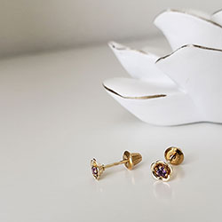Girls Elegant Flower Girl Keepsakes™ - February Birthstone 14K Yellow Gold Screw Back Flower Earrings for Babies & Toddlers - 2.5mm Genuine Amethyst Gemstone - Safety threaded screw back post/