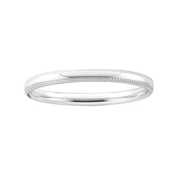 "Fine Toddler Bracelets - High Polished Sterling Silver Rhodium Beaded Edge Child Bangle Bracelet - Size 5.25"" (1 - 5 years)"