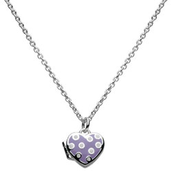 Polka Dot Cutie Pie Purple Heart Locket - Sterling Silver Rhodium Girls Heart Locket Necklace - Includes 14-inch chain/