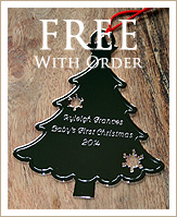 FREE Engraved Silver Plated Ornament with Orders of $200 or more!