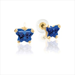 Baby 14K Yellow Gold September Sapphire C.Z. Tiny Butterfly Push Back Stud Earrings/