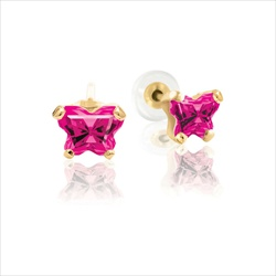 Baby 14K Yellow Gold July Ruby C.Z. Tiny Butterfly Push Back Stud Earrings/