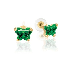 Baby 14K Yellow Gold May Emerald C.Z. Tiny Butterfly Push Back Stud Earrings/