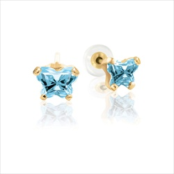 Baby 14K Yellow Gold March Aquamarine C.Z. Tiny Butterfly Push Back Stud Earrings - BEST SELLER/