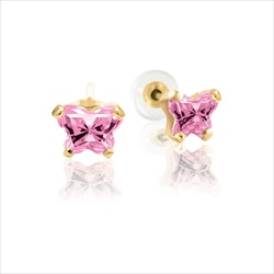 Baby 14K Yellow Gold October Pink Tourmaline C.Z. Tiny Butterfly Push Back Stud Earrings/