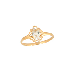 Children's Birthstone Rings - 14K Yellow Gold Girls Genuine White Topaz April Birthstone Ring - Size 5 1/2 - Perfect for Grade School Girls, Tweens, or Teens - BEST SELLER/