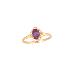 Children's Birthstone Rings - 14K Yellow Gold Girls Genuine Rhodolite Garnet June Birthstone Ring - Size 5 1/2 - Perfect for Grade School Girls, Tweens, or Teens - BEST SELLER/