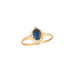 Children's Birthstone Rings - 14K Yellow Gold Girls Genuine Blue Sapphire September Birthstone Ring - Size 5 1/2 - Perfect for Grade School Girls, Tweens, or Teens - BEST SELLER/