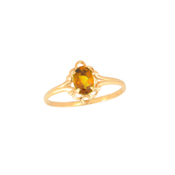 Children's Birthstone Rings - 14K Yellow Gold Girls Genuine Citrine November Birthstone Ring - Size 5 1/2 - Perfect for Grade School Girls, Tweens, or Teens - BEST SELLER/