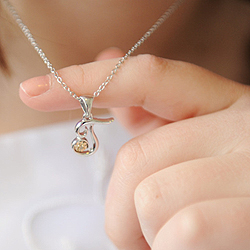 Girls Script Initial T - 14K Yellow Gold and Sterling Silver Diamond Pendant Children's Necklace - Includes 14
