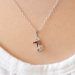 Girls Initial T - Sterling Silver Diamond Flower Pendant Girls Necklace - Includes 15