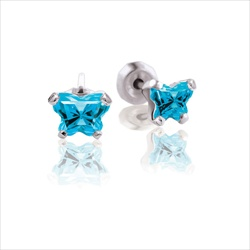 Baby 14K White Gold December Blue Topaz C.Z. Tiny Butterfly Push Back Stud Earrings/