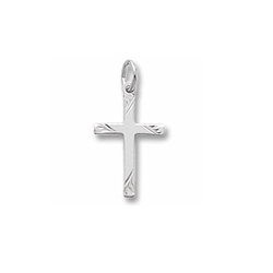 Rembrandt Sterling Silver Rhodium Diamond-Cut Medium Cross Charm – Add to a bracelet or necklace/
