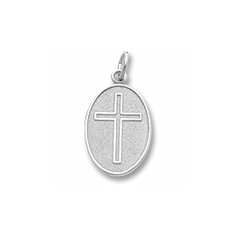 Keepsake Personalized Cross - Sterling Silver Rembrandt Charm – Engravable on back - Add to a bracelet or necklace/