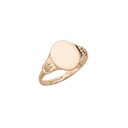 Boys Rings - 10k Yellow Gold Boys Engravable Signet Ring - Oval Ring Face - Size 6/