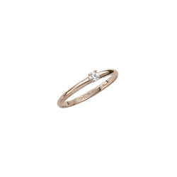 Teeny Tiny Solitaire Diamond Ring For Little Girls - Tiny 2-point Genuine Diamond - 10K Yellow Gold - Size 3 1/2 (4 - 10 years)/