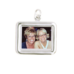Rembrandt Sterling Silver Rectangle (Horizontal) PhotoArt Charm – Engravable on back - Add to a bracelet or necklace/
