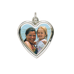 Rembrandt Sterling Silver Large Heart PhotoArt Charm – Engravable on back - Add to a bracelet or necklace/